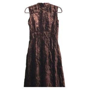 VTG Cirette Calif Maxi Dress Brown Crush Velvet 12